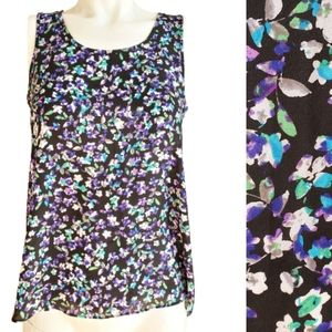 Express Purple Floral short Sleeves Top Sz XS